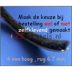 Mohair Zwart, hoog 4 , rug 6.7 (P6-043PZN) (uw keuze is: