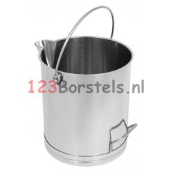 RVS EMMER (20-15-10L) met schenktuit en handgreep (cilinder)