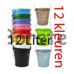 Hygienische emmer 12 liter met maatverdeling en schenktuit