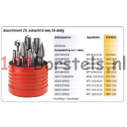 Set met 10 frezen met stift 6 mm
