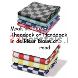 Theedoek of Handdoek Rood of Blauw in Blok