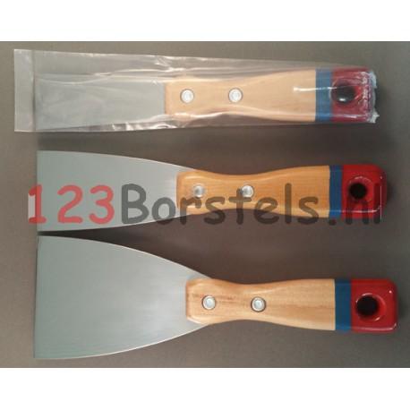 Pamuurmes gepolijst blad met houtenhandvat 30 of 50 of 80 mm